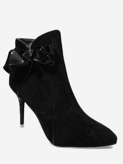 Stiletto Heel Bow Ankle Boots - Black 38