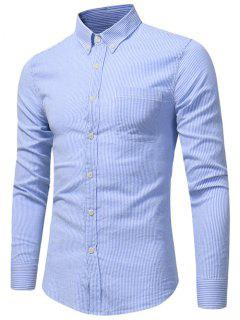 Button Down Chest Pocket Stripe Shirt - Blue L