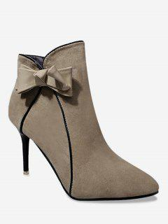 Stiletto Heel Bow Ankle Boots - Khaki 38