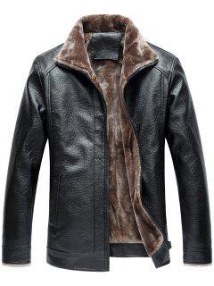 Veste Zippée En Faux Cuir Et En Molleton à Col Tailleur - Noir L