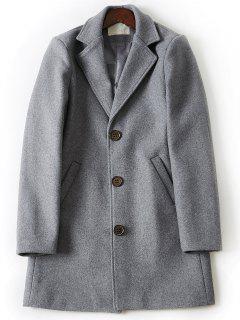 Turndown Collar Single Breasted Longline Woolen Coat - Light Gray 4xl