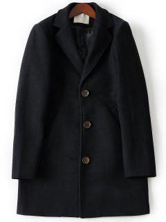 Turndown Collar Single Breasted Longline Woolen Coat - Black 2xl