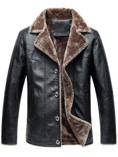Turndown Collar Button Up Fleece PU Leather Jacket - Black 5xl