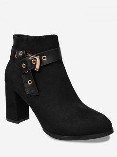 Buckle Strap Side Zipper Ankle Boots - Black 35