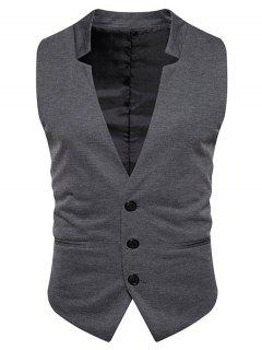 V Neck Edging Single Breasted Waistcoat - Deep Gray M