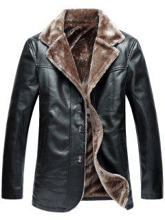 Turndown Collar Single Breasted Fleece PU Leather Jacket - Black 2xl
