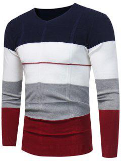 V Neck Color Block Jumper - Purplish Blue L