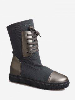 Slip On Splicing Short Boots - Gray 37