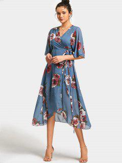 Empire Waist Floral Print Asymmetric Wrap Dress - Floral L