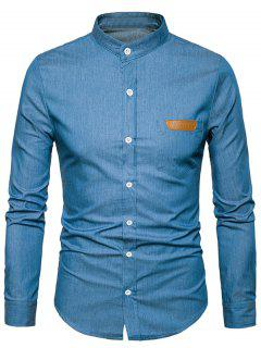 Stand Collar PU Leather Edging Chambray Shirt - Deep Blue M