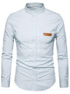 Camisa De Cambray Del Borde Del Cuero De La PU Del Collar Del Soporte - Blanco M