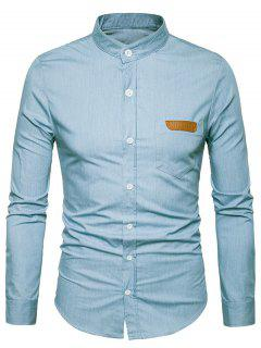 PU Leather Edging Chambray Shirt Men Clothes - Light Blue M