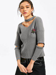 Zippered Manga Rosa Brocado Choker Suéter - Gris