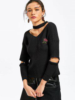 Zippered Sleeve Rose Embroidered Choker Sweater - Black