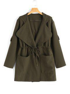 Manteau à Capuche Taille à Corde Avec Poches - Vert Armée L