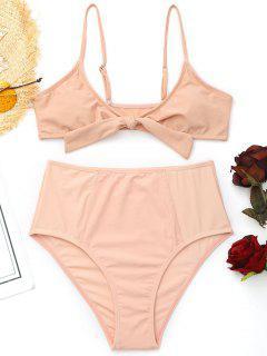 Cami Vorne Gebundene Hoch Taillierte Bikini - Pink S