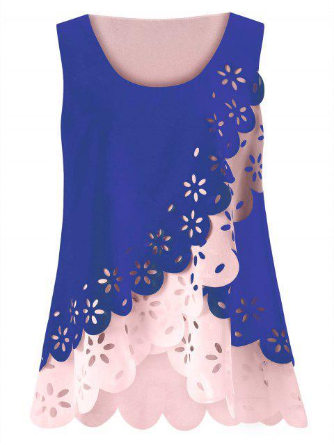 Tamaño más ahueca hacia fuera la blusa festoneada - Azul 2XL Mobile