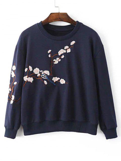 Sweat-shirt à Fleur du Prunier Brodée à Épaules Tombantes - Bleu Violet L Mobile