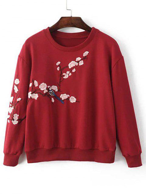 Sweatshirt mit Drop Schulter und Pflaumen-Blüten Stickerei - Rot S Mobile