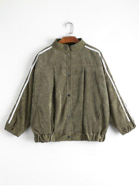 unique Contrast Stripe Corduroy Jacket - ARMY GREEN M Mobile