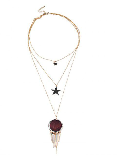 outfit Imitated Dreamcatcher Star Layered Necklace - GOLDEN  Mobile