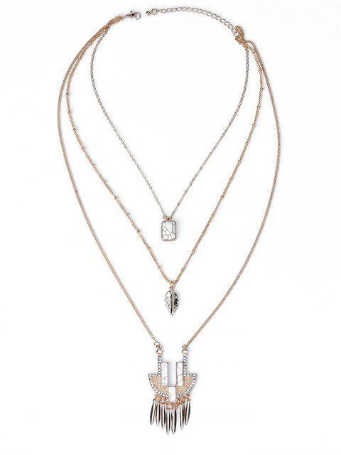 Faux Stone Ethnische Anhänger Layered Halskette - Golden  Mobile