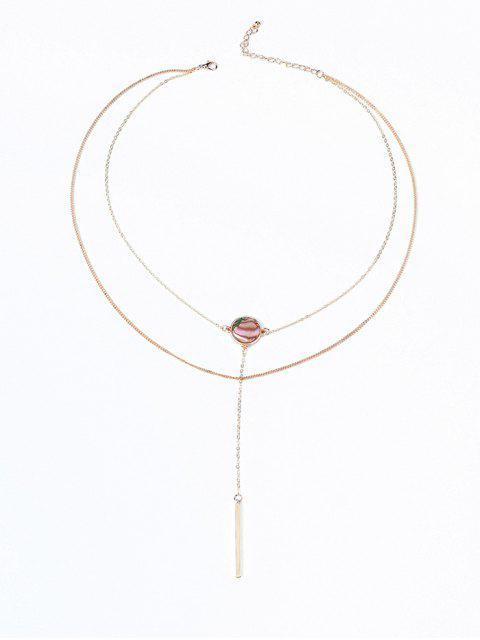 Collar con capas redondas de patrón de ilusión - Dorado  Mobile