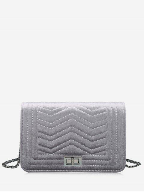 buy Stitching Quilted Zigzag Crossbody Bag - GRAY  Mobile