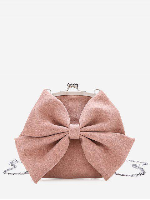 womens Chain Bowknot Crossbody Bag - PINK  Mobile