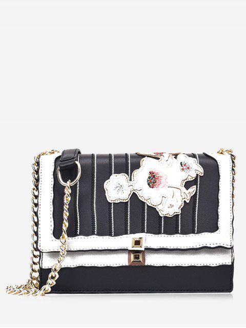 women's Floral Striped Rivet Crossbody Bag - BLACK  Mobile