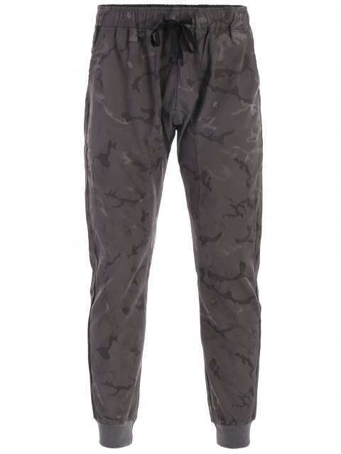 hot Halloween Skull Camo Print Jogger Pants - DEEP GRAY 2XL Mobile