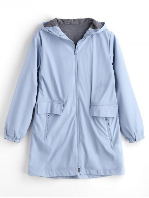 latest Hooded Elastic Cuffs Zip Up Coat - LIGHT BLUE M Mobile