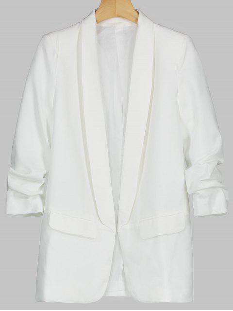 Blazer à Col Châle avec Poches Décoratives - Blanc L Mobile
