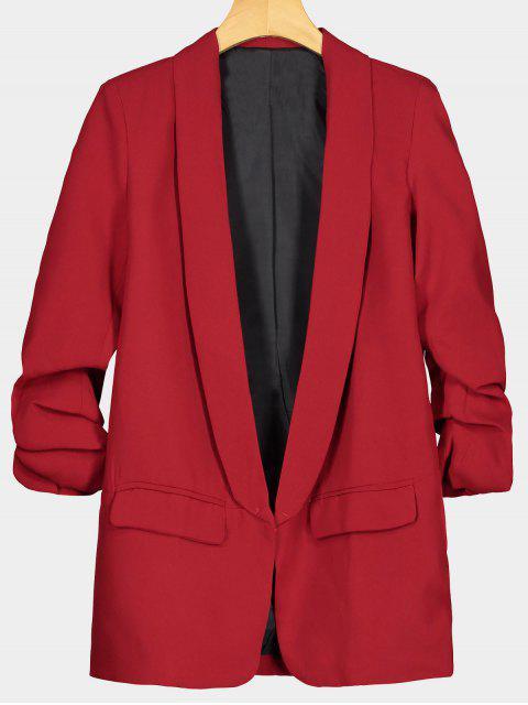 women Faux Pocket Embellished Lapel Blazer - RED L Mobile