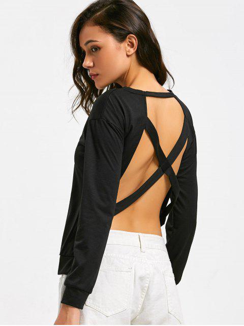 Rückenfreies T-Shirt mit langen Hülsen und Kreuzgurte - Schwarz XL Mobile