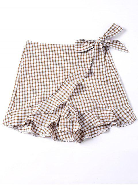 fashion Self Tie Gingham Ruffle Shorts - COLORMIX M Mobile