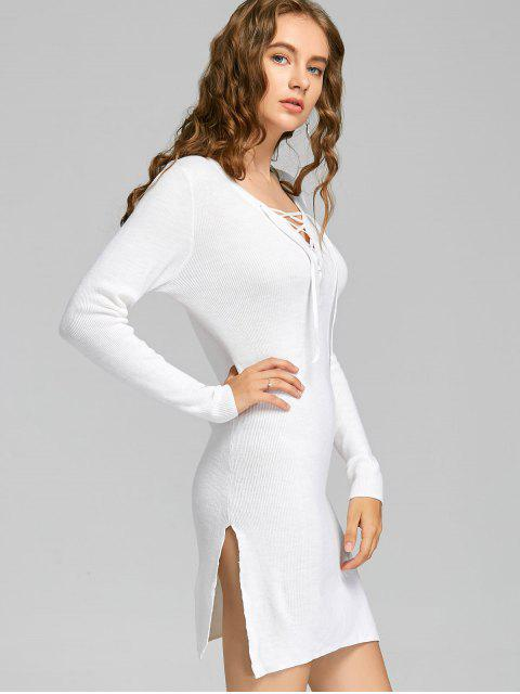 chic Plunging Neck Lace Up Slit Knitted Dress - WHITE L Mobile