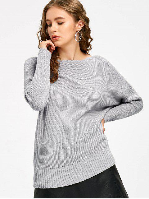 Pullover mit Schrägstrich und Dolman Ärmel - Grau Eine Größe Mobile