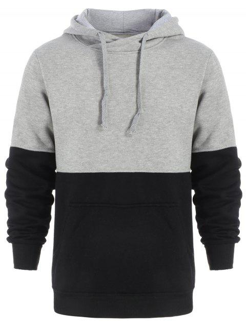ladies Drawstring Color Block Pullover Hoodie - BLACK AND GREY XL Mobile