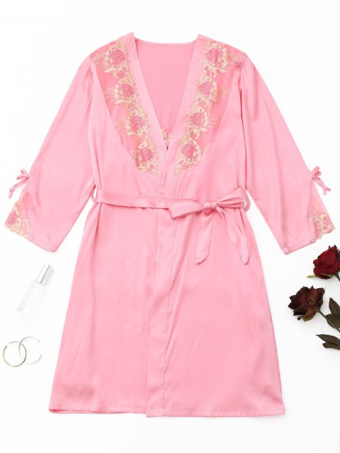Robe en Satin Brodée avec Empiècements en Mailles - Rose  M Mobile