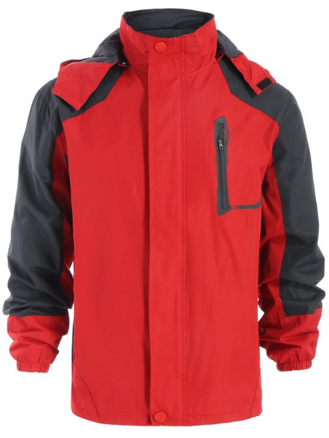 unique Color Block Windbreaker Jacket - RED M Mobile