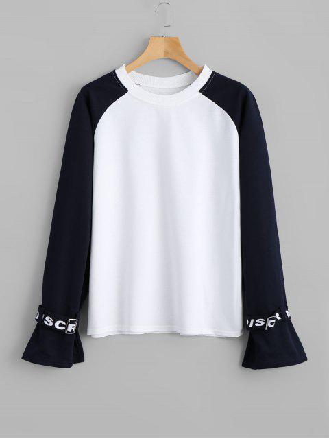 Sweat-shirt à Deux Tons à Manches Raglan - Blanc S Mobile