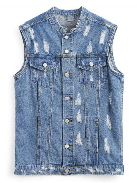 unique Button Up Distressed Denim Waistcoat - DENIM BLUE L Mobile