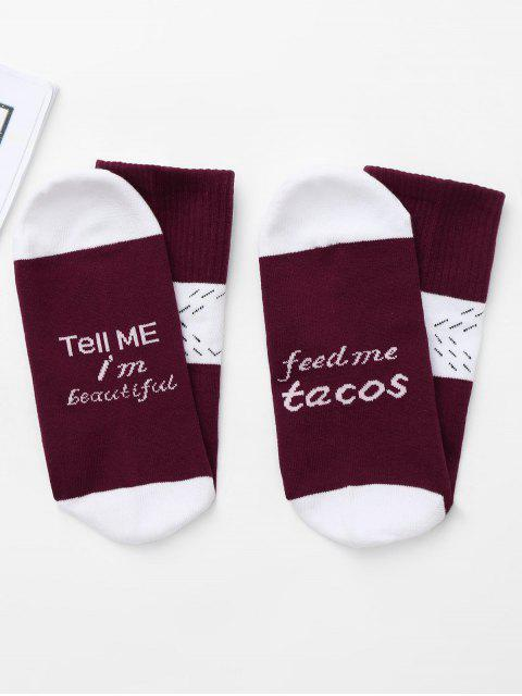 lady Graphic Color Block Christmas Socks - WINE RED ONE SIZE Mobile