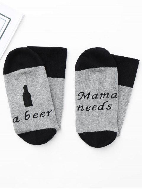 new Graphic Crew Socks - DEEP GRAY ONE SIZE Mobile