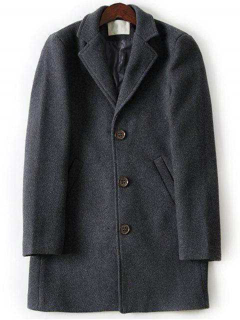 affordable Turndown Collar Single Breasted Longline Woolen Coat - DEEP GRAY 4XL Mobile