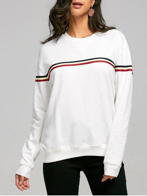 sale Drop Shoulder Striped Crew Neck Sweatshirt - WHITE ONE SIZE Mobile
