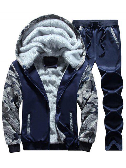 Flocking Camo Hoodie und Sweatpants Trainingsanzug - Schwarzblau 3XL Mobile