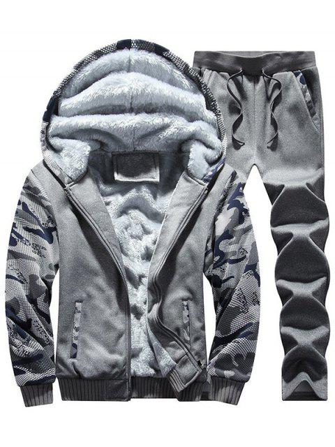 Flocking Camo Hoodie und Sweatpants Trainingsanzug - Dunkelgrau 2XL Mobile
