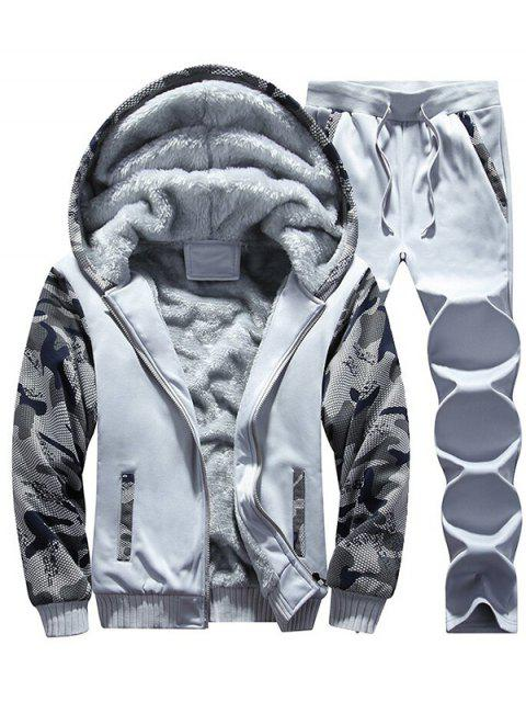 Flocking Camo Hoodie und Sweatpants Trainingsanzug - Hellgrau 3XL Mobile